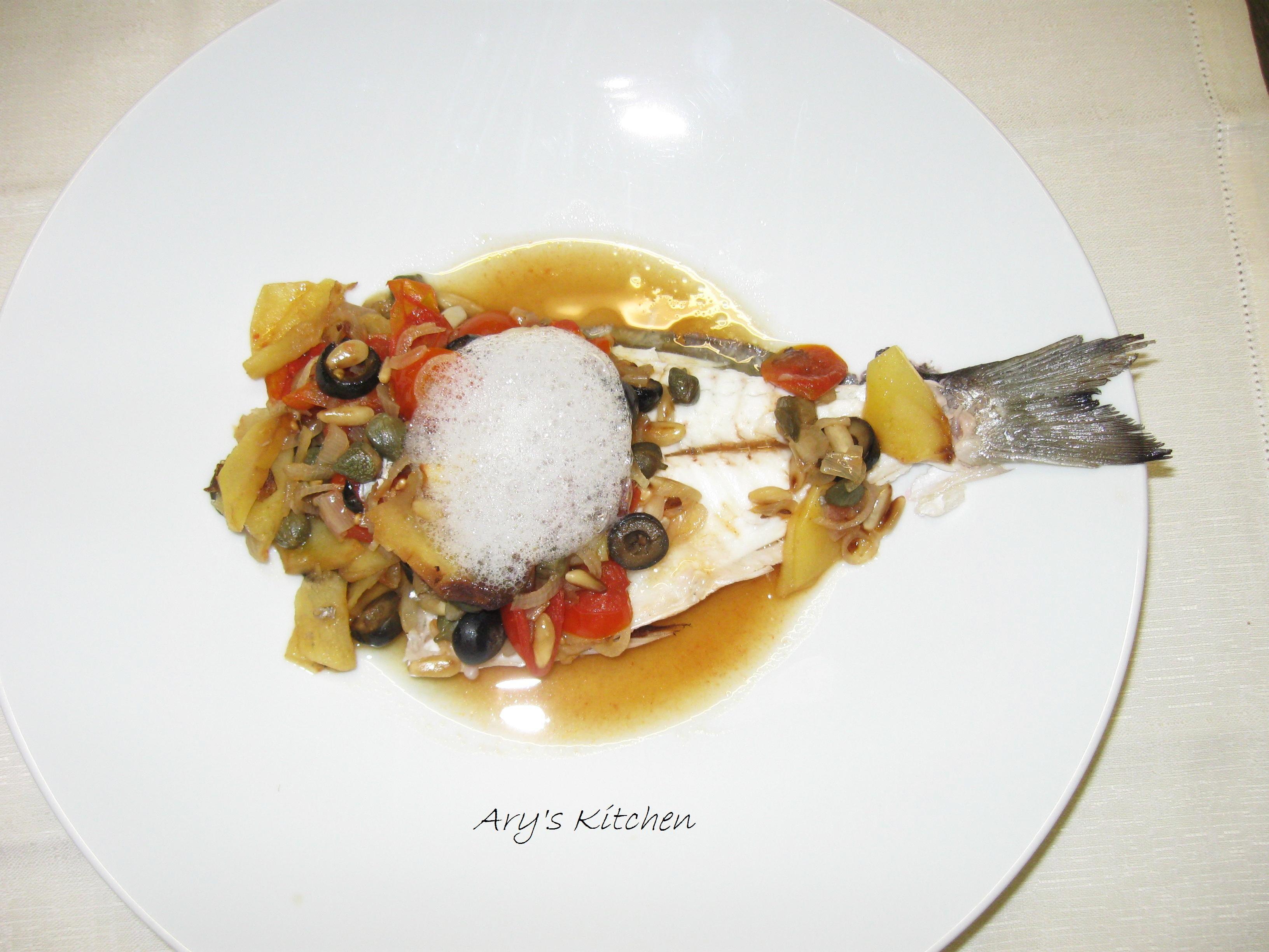 Il mio piatto di cucina wellness: Orata in forno all'isolana con aria al basilico