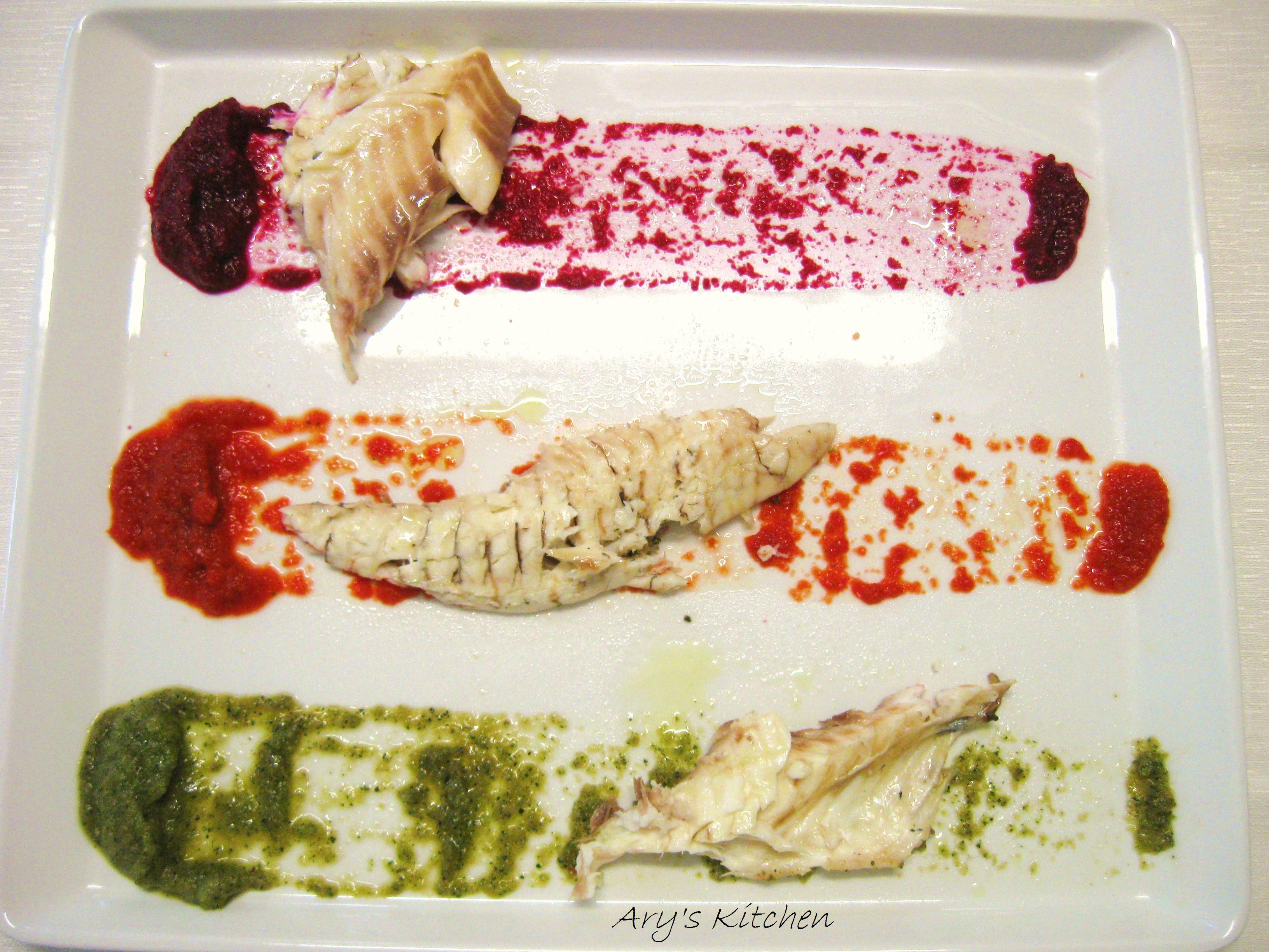 Il mio piatto di Cucina Welness: Orata in forno in crosta di sale e erbe aromatiche con le sue tre creme di verdure a crudo( barbabietola rossa e granella di nocciole- peperoni rossi e basilico- zucchine, aglio e maggiorana)