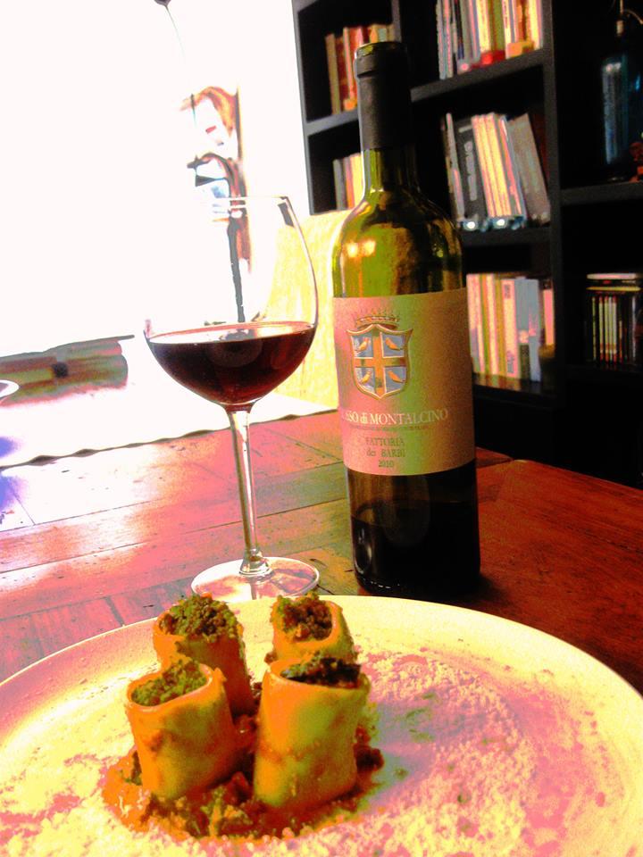 Paccheri farciti di Broccoli con Ragù di Chianina e Rosso di Montalcino.