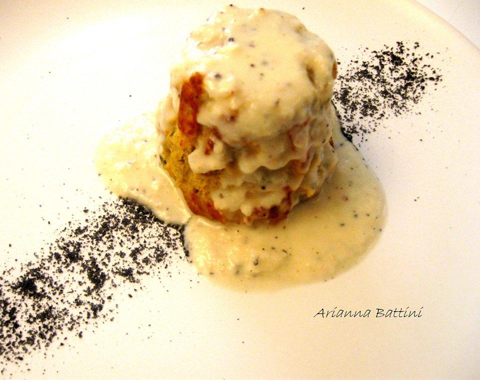 tortino morbido di Zucca e Zucchine con pecorino al pepe nero e sale nero di Cipro.....