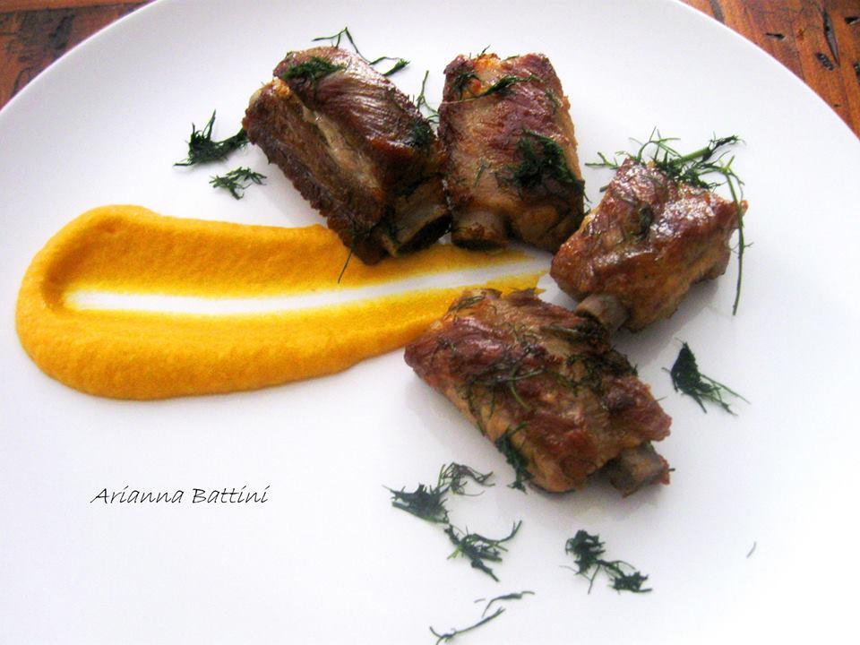 .Rosticciana al Finocchietto con maionese di finocchi e carote.