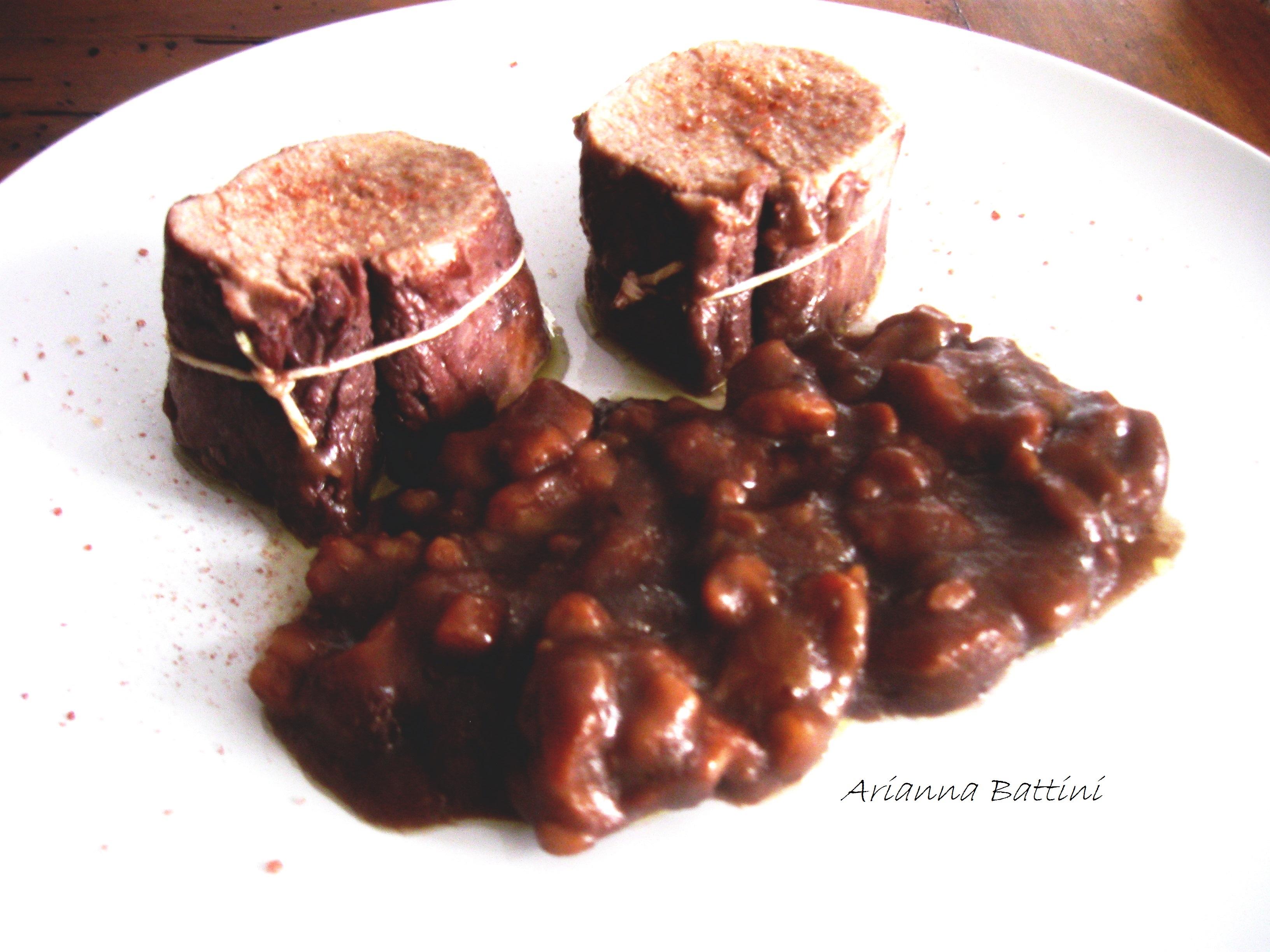 Filetto di maiale con salsa di castagne e Sangiovese toscano.