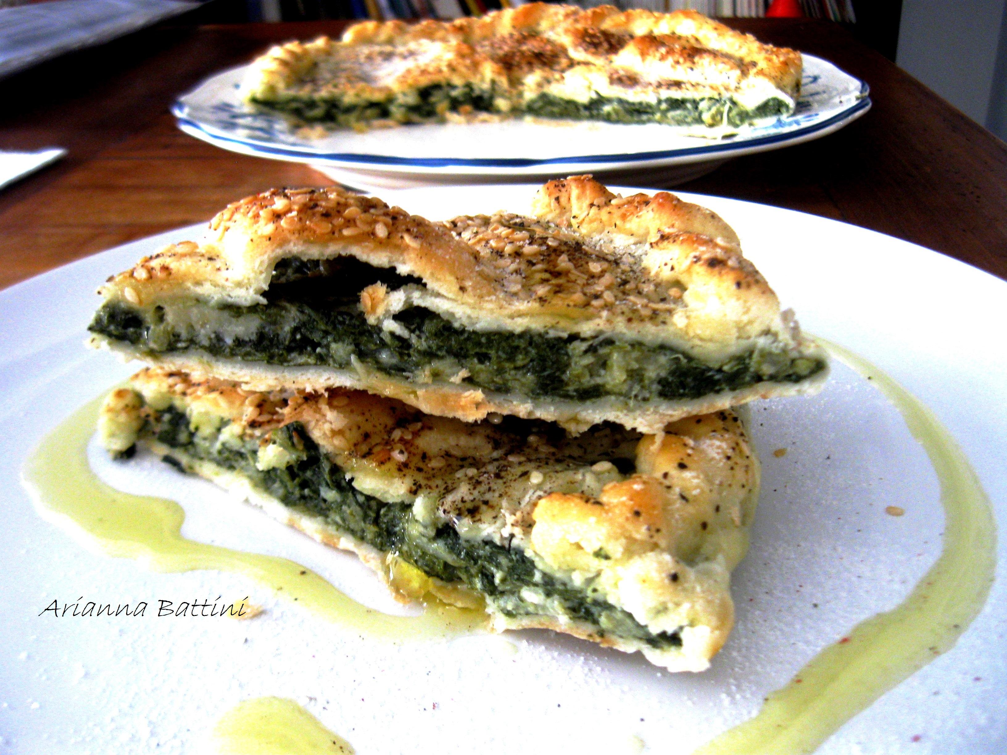 Torta Briseè di Bietoline e Robiola con semi di sesamo.
