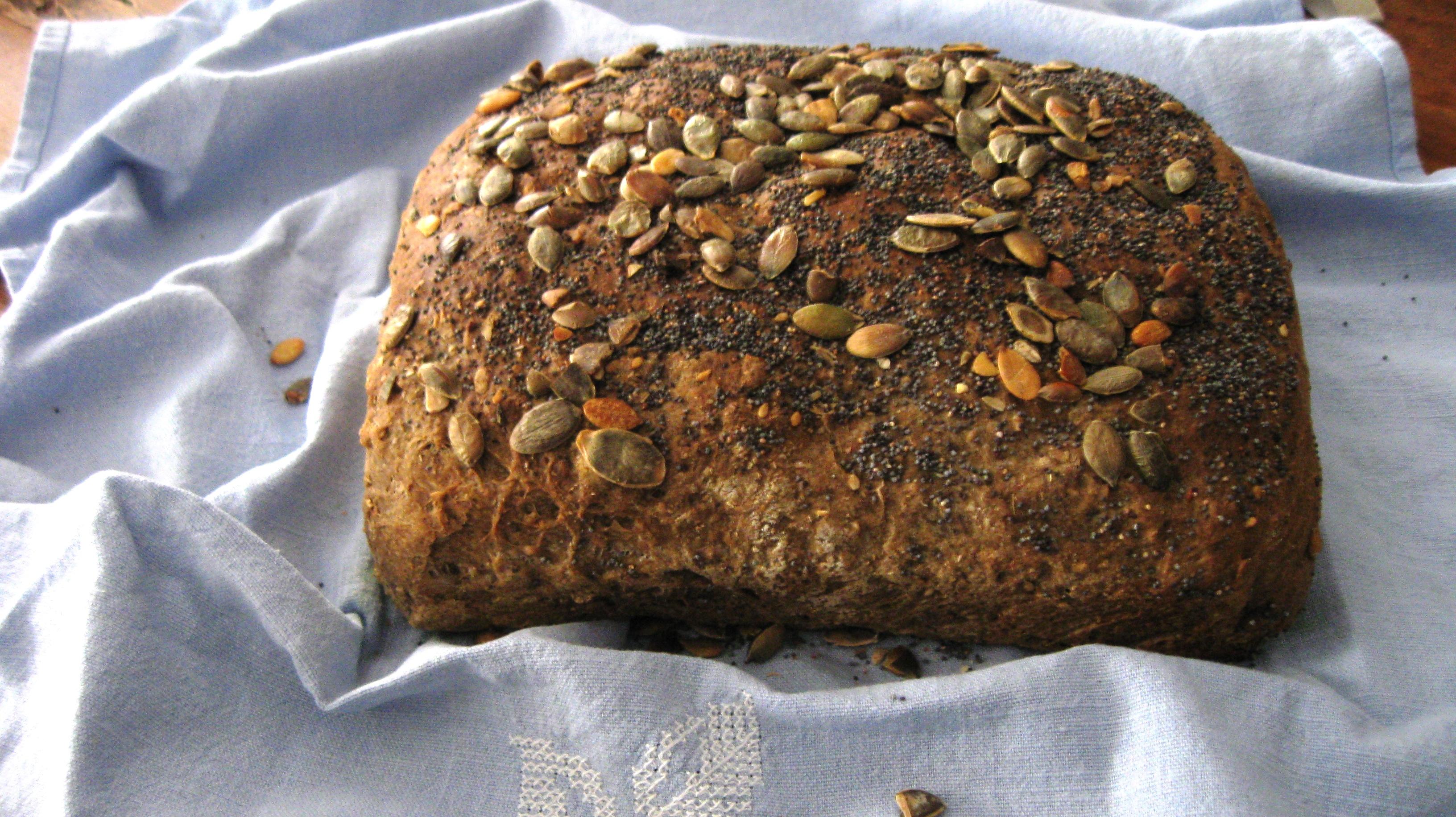 Pane nero con semi di zucca e di papavero